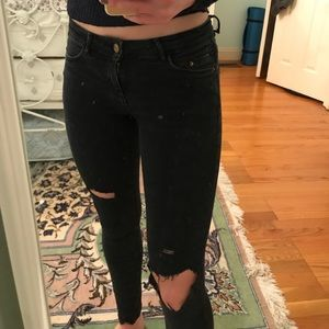 zara ripped black jeans